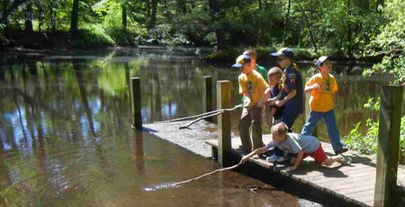 Cub scouts at dock
